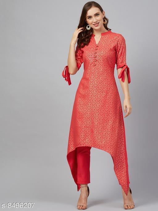 Ziyaa Women's Coral Poly Rayon Foil Printed Flared Kurta With Pant Set