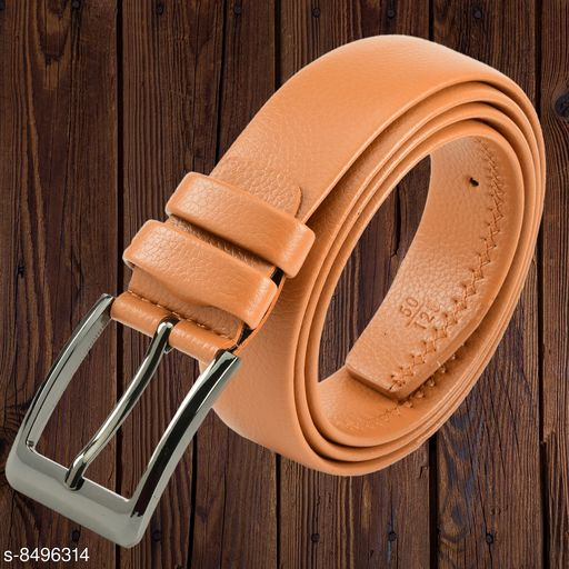 Winsome Deal Men's Artificial Leather, Solid Textured Tan Formal Belt