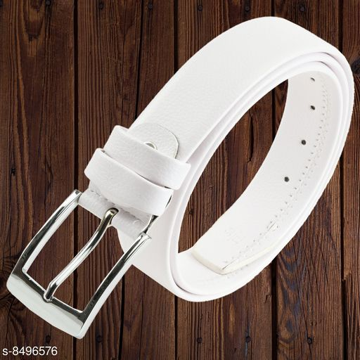 Winsome Deal Men's Artificial Leather, Solid Textured White Formal Belt