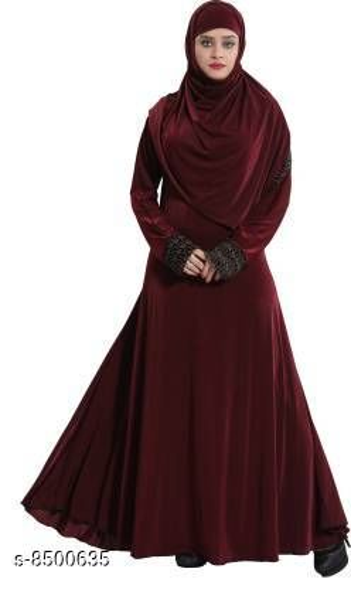 Tucute® Women's Ready to Wear Lycra Abaya Burkha with Waist Belt/Scarf Hijab (MAROON)