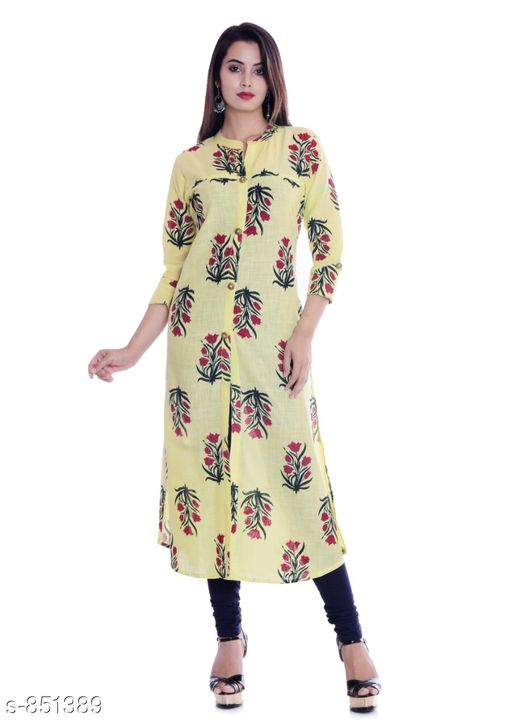 Kurtis & Kurtas Fancy Cotton Printed Kurti Fabric: Cotton  Sleeves: 3/4 Sleeves Are Included Size: M - 38 in , L - 40 in, XL - 42 in, XXL - 44 in Length: Up To 46 in Type: Stitched Description: It Has 1 Piece Women's Kurti Work: Printed Sizes Available: M, L, XL, XXL   Catalog Rating: ★4 (213)  Catalog Name: Kaira Fancy Cotton Printed Kurtis Vol 1 CatalogID_98581 C74-SC1001 Code: 124-851389-