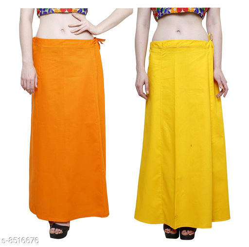 Sai Cotton Petticoat - Yellow & Orange, Free Size (Pack of 2)