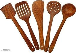 A S Handicrafts Wooden Spoon Set of 5 Cooking Spoon for Kitchen