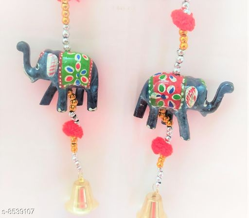 Wind Chimes Traditional Elephant Wall Door Hanging  *Material* Handicraft  *Pack* Pack of 2  *Sizes Available* Free Size *    Catalog Name: Colorful Chimes CatalogID_1444157 C127-SC1619 Code: 652-8539107-