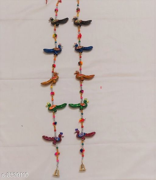 Wind Chimes Traditional Peacock Wall Door Hanging  *Material* Handicraft  *Pack* Pack of 2  *Sizes Available* Free Size *    Catalog Name: Colorful Chimes CatalogID_1444157 C127-SC1619 Code: 652-8539110-