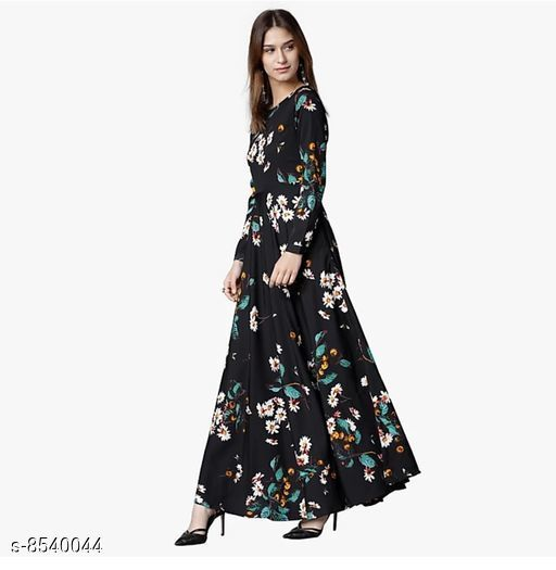 Women's Black Poly Crepe Gown
