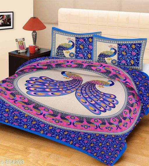 Elegant Printed Cotton Double Bedsheet