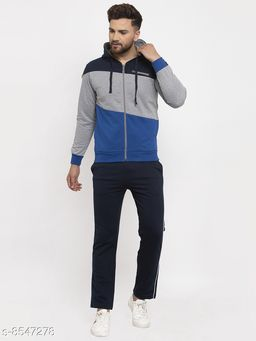Gents Hooded Colorblocked Printed Zippered Tracksuit For Men