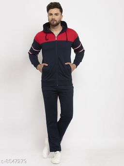 Gents Hooded Colorblocked Zippered Tracksuit For Men