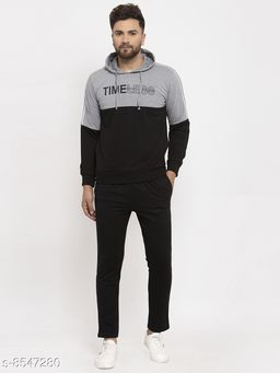 Gents Hooded Black And Grey Timeless Printed Tracksuit For Men