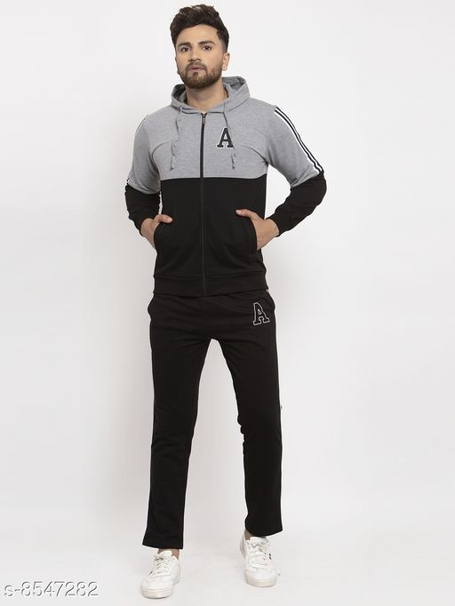 Gents Hooded Black And Grey Printed Tracksuit For Men