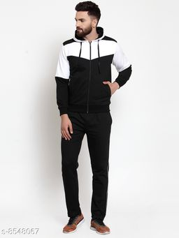 Men's Black And White Hooded Zippered Tracksuit