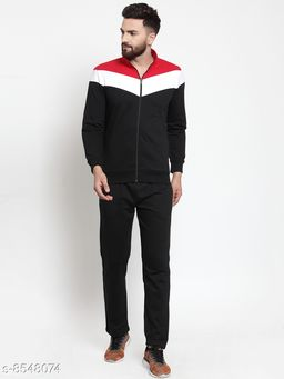 Men's Solid  Multicolor Collar Zippered Tracksuit