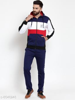 Men's Solid  Multicolor Hooded Zippered Tracksuit
