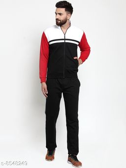 Men's Solid Multicolor Collared Striped Tracksuit