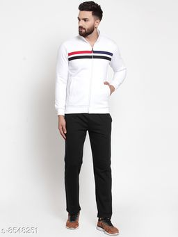 Men's White Collared Striped Tracksuit