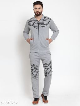 Men's Printed Grey Zippered Tracksuit