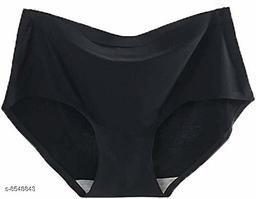 Women Seamless Black Silk Panty