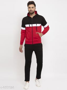 Gents Hooded Black And Red Tracksuit For Men