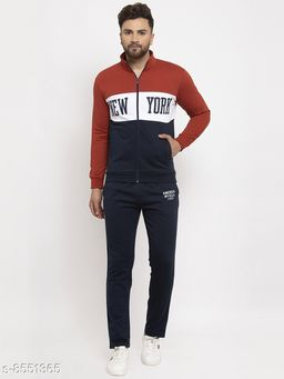 Gents Hooded Colorblocked New York Printed Tracksuit