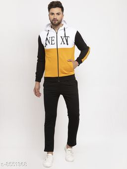 Gents Hooded Yellow,Black And White Next Printed Tracksuit