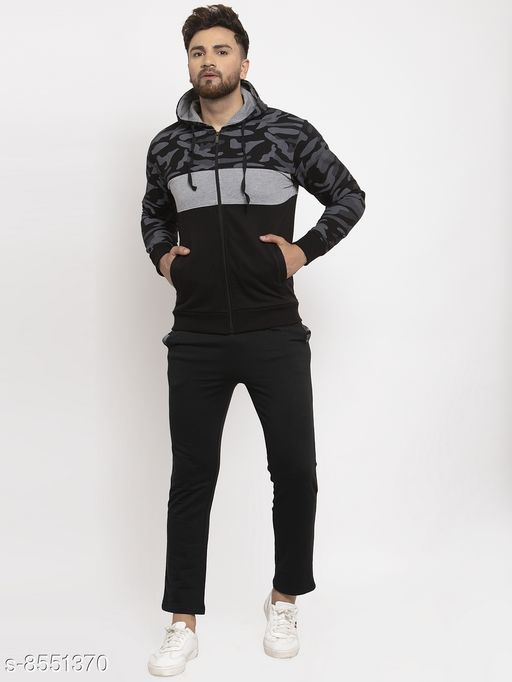 Gents Army Print Black And Grey Hooded Tracksuit For Men