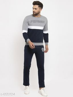 Gents Round Neck Statement Printed Tracksuit For Men