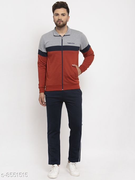 Gents Polo Collar Colorblocked Zippered Tracksuit For Men