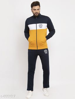 Gents Ban Collar Yellow, Black And White NYC Printed Tracksuit