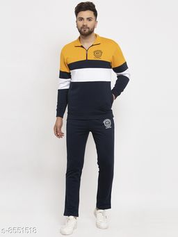 Gents Collar Colorblocked NYC Printed Tracksuit For Men