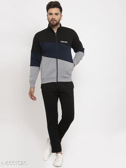 Gents Collar Colorblocked Printed Zippered Tracksuit For Men