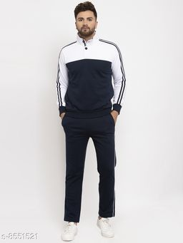Gents Buttoned Collar Black And White Tracksuit For Men