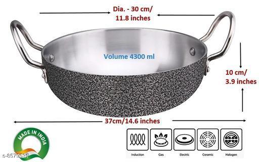 Pots Aluminium Kadhai 30 cm  *Material* Aluminium  *Pack* Pack of 1  *Height* 8 cm  *Sizes Available* Free Size *    Catalog Name: Classy Pots CatalogID_1453895 C137-SC1596 Code: 598-8579531-