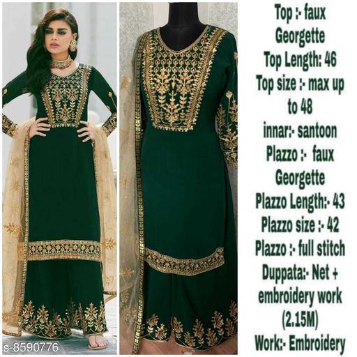 Missethnik beautiful embroidory work semi stitched green sharara suit