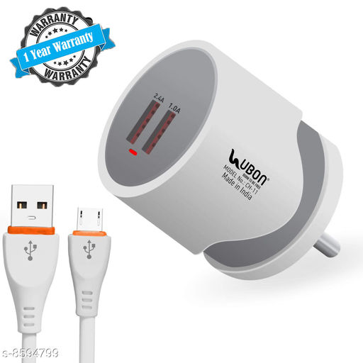 UBON Power Hub Fast Charger with 2 USB ports and 1 Year Warranty (Pack of 3)