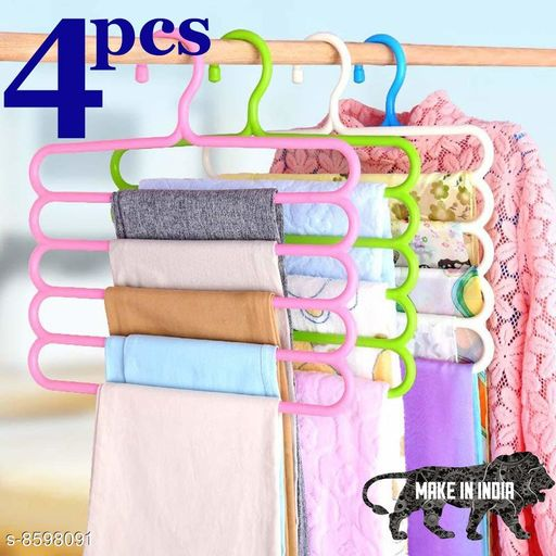 Multi-Functional Storage Wardrobe  Organiser 5 Layer Hanger for Shirts, Pants, Skirts (Set of 4, MultiColor )