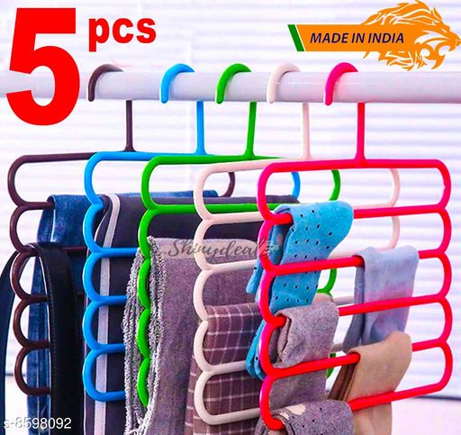 Other  Multi-Functional Storage Wardrobe  Organiser 5 Layer Hanger for Shirts, Pants, Skirts  (Set of 5, MultiColor ) Material: Plastic Pack: Multipack Country of Origin: India Sizes Available: Free Size    Catalog Name: Classic Clothes Hangers CatalogID_1458495 C131-SC1801 Code: 503-8598092-996