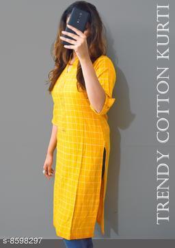 Women Cotton Linen Straight Printed Yellow Kurti