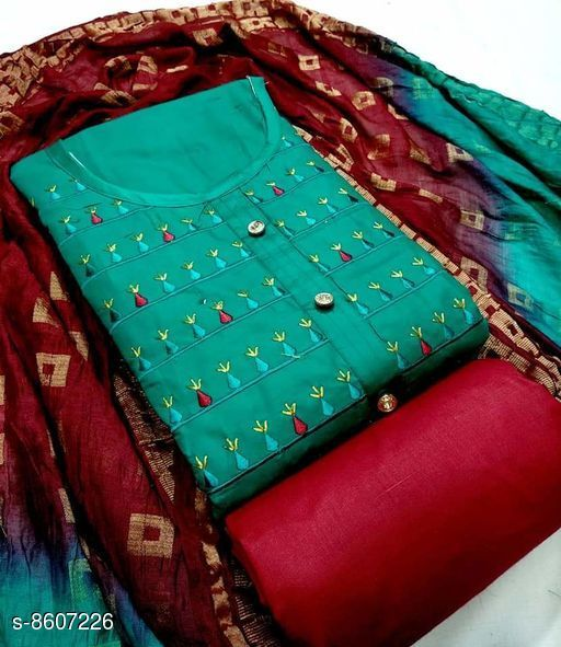 Top Satin cotton embroidery work Suits & Dress Materials