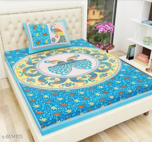 Riya Fabrics 104 TC Sanganeri Jaipuri Single Bedsheet with Pillow Cover