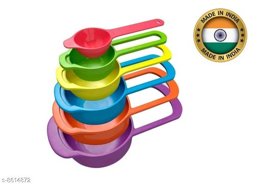 6 Pcs Colour Full Measuring Cup and Spoon  for Multi Purpose Kitchen Tool