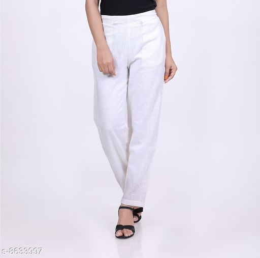 Trousers & Pants KVASTRA Womens Cotton Western Trouser Pants (White)  *Fabric* Cotton  *Pattern* Solid  *Multipack* 1  *Sizes*   *26 (Waist Size* 26 in, Length Size  *Sizes Available* 26, 28, 30, 32, 34, 36, 38 *    Catalog Name: Trendy Latest Women Women Trousers  CatalogID_1467087 C79-SC1034 Code: 463-8633997-9921
