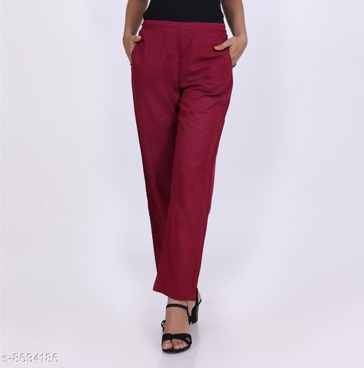 Trousers & Pants KVASTRA Womens Cotton Western Trouser Pants (Maroon)  *Fabric* Cotton  *Pattern* Solid  *Multipack* 1  *Sizes*   *26 (Waist Size* 26 in, Length Size  *Sizes Available* 26, 28, 30, 32, 34, 36, 38 *    Catalog Name: Pretty Graceful Women Women Trousers  CatalogID_1467137 C79-SC1034 Code: 463-8634186-9921
