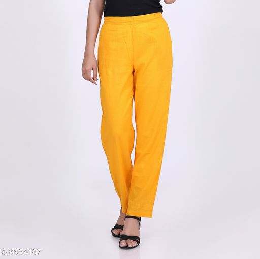 Trousers & Pants KVASTRA Womens Cotton Western Trouser Pants (Yellow)  *Fabric* Cotton  *Pattern* Solid  *Multipack* 1  *Sizes*   *26 (Waist Size* 26 in, Length Size  *Sizes Available* 26, 28, 30, 32, 34, 36, 38 *    Catalog Name: Pretty Graceful Women Women Trousers  CatalogID_1467137 C79-SC1034 Code: 463-8634187-9921