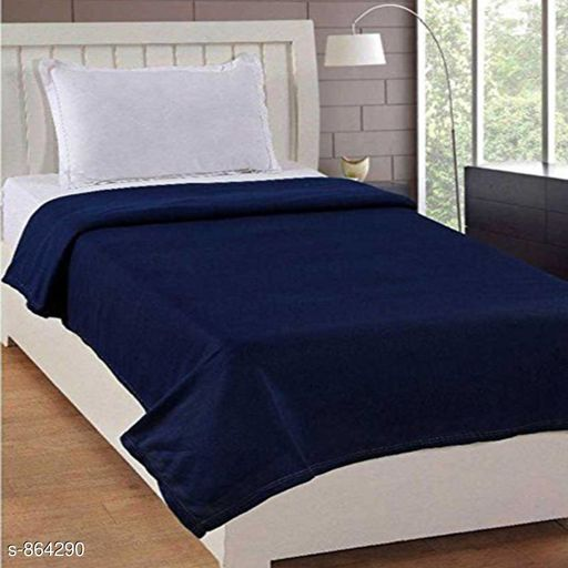 Blankets, Quilts & Dohars  Comfortable Fleece Single Blanket  *Fabric* Blanket - Fleece  *Dimension* ( L X W ) - Blanket - 60 in x 90 in  *Description* It Has 1 Piece Of Blanket  *Pattern* Solid  *Thread Count* 140  *Sizes Available* Free Size *   Catalog Rating: ★3.6 (40)  Catalog Name: Splendor Comfortable Fleece Single Blanket Vol 3 CatalogID_100333 C53-SC1102 Code: 524-864290-