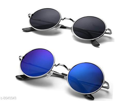 DXB Black/Blue Round  Metal Body Sunglass