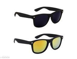 DXB Black/Yellow Wayfarer Plastic Body Sunglass(LW341-YLWBLK)
