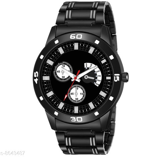 HPP_58 BLACK METAL ROUND DIAL NEW ARRIVAL ANALOG WATCH FOR HPP