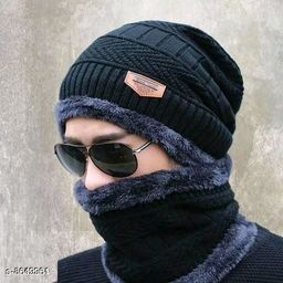 Latest Attractive Men's Woollen Head & Neck Cap Beanies Combo