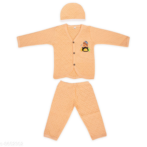 The Boo Boo Club Soft Cotton Double Layered Full Sleeves Pant Tshirt Set for Winter. *Free Winter Cap*